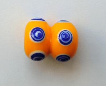 Náhled výrobku: Keltský dvojdílný korálek s oky - žlutý